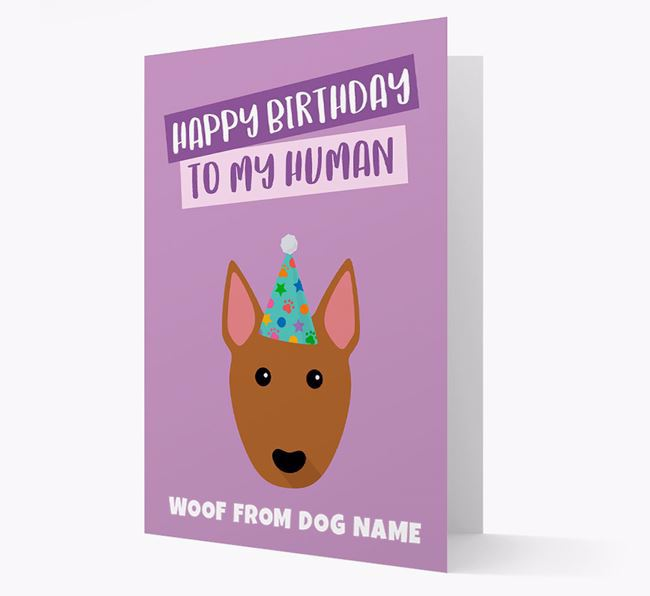 Personalised 'Happy Birthday To My Human' Card with Bull Terrier Icon