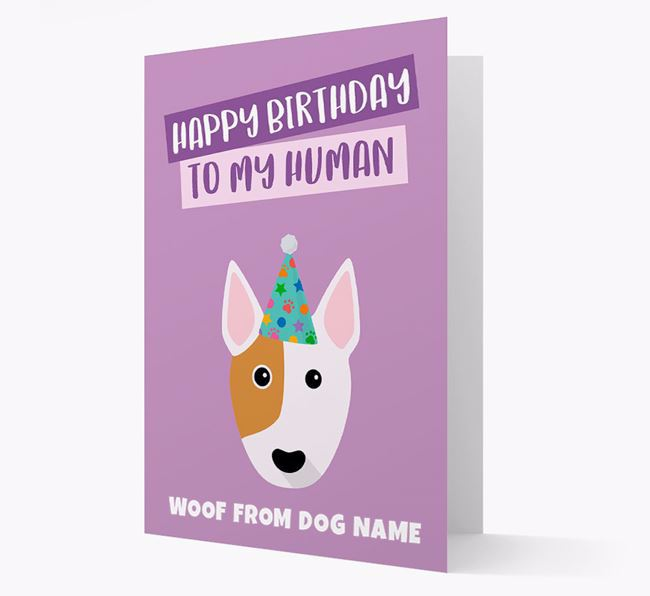 Personalized 'Happy Birthday To My Human' Card with Bull Terrier Icon