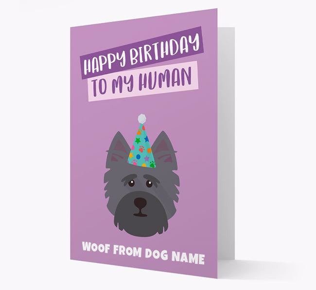 Personalized 'Happy Birthday To My Human' Card with Cairn Terrier Icon