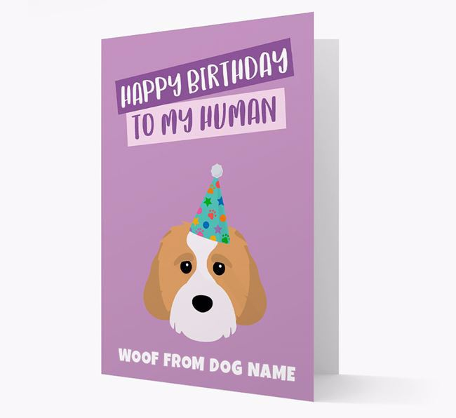 Personalised 'Happy Birthday To My Human' Card with Cavachon Icon