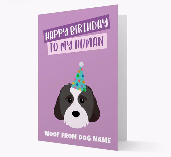 Personalized 'Happy Birthday To My Human' Card with Cavachon Icon