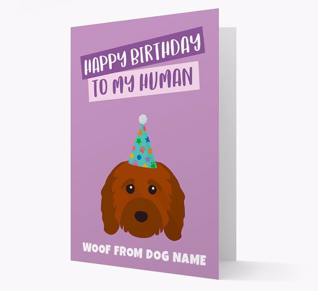 Personalized 'Happy Birthday To My Human' Card with Cavapoo Icon