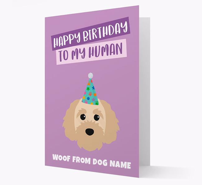 Personalized 'Happy Birthday To My Human' Card with Cavapoochon Icon