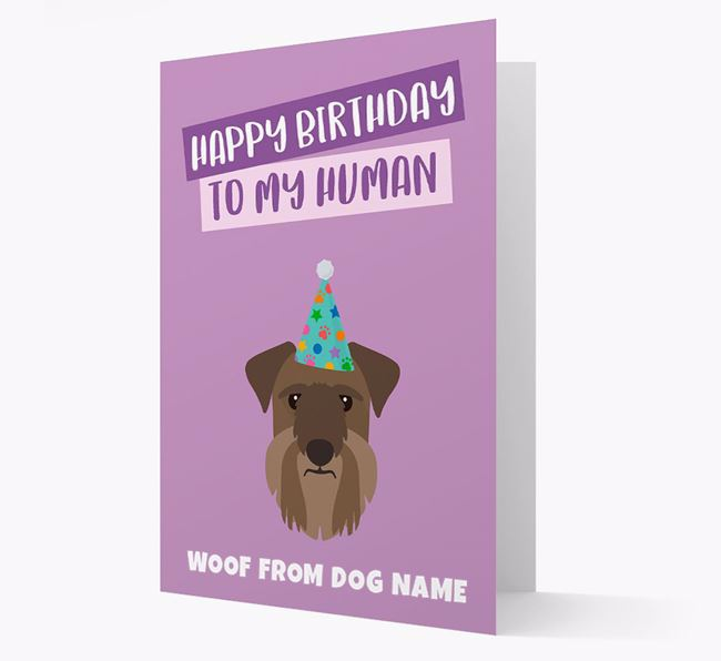 Personalised 'Happy Birthday To My Human' Card with Cesky Terrier Icon