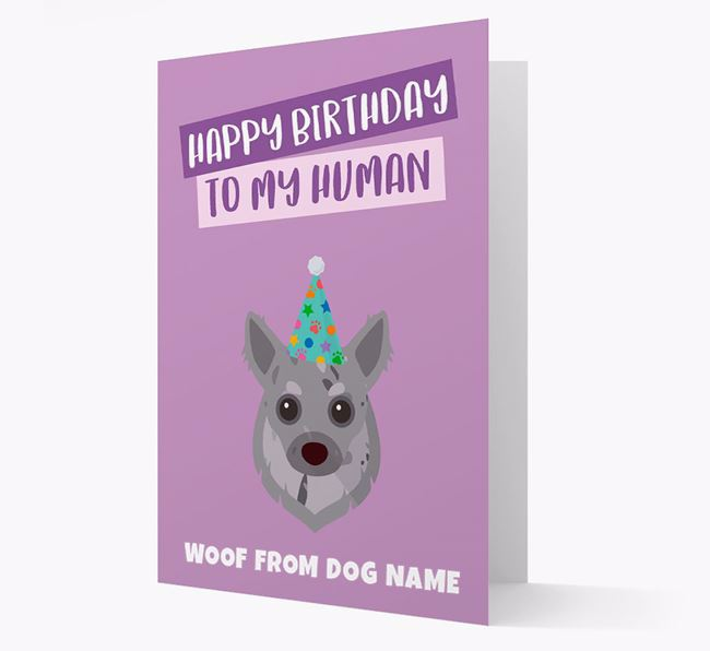 Personalised 'Happy Birthday To My Human' Card with Chihuahua Icon