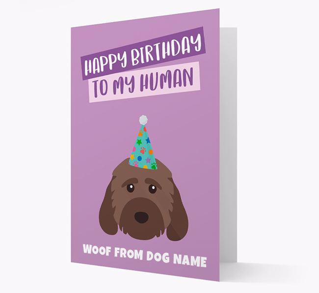 Personalised 'Happy Birthday To My Human' Card with Cockapoo Icon
