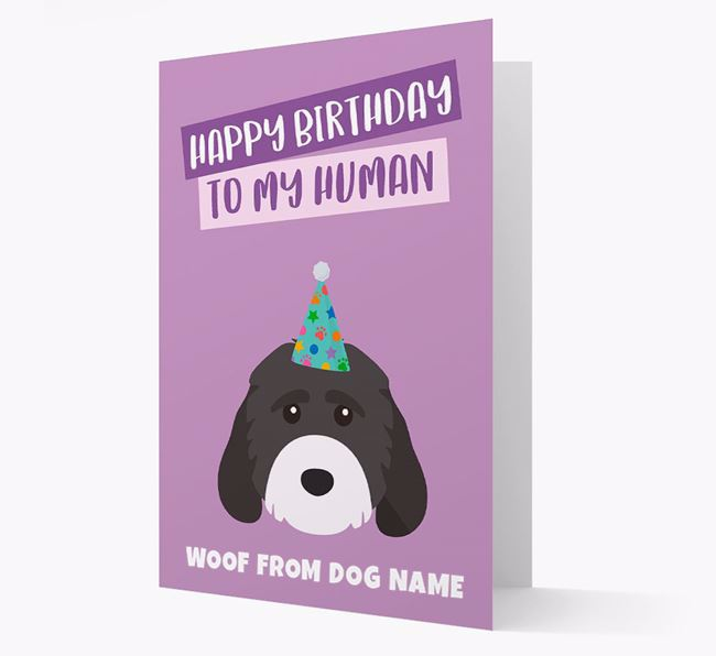 Personalized 'Happy Birthday To My Human' Card with Cockapoo Icon