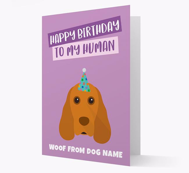 Personalised 'Happy Birthday To My Human' Card with Cocker Spaniel Icon