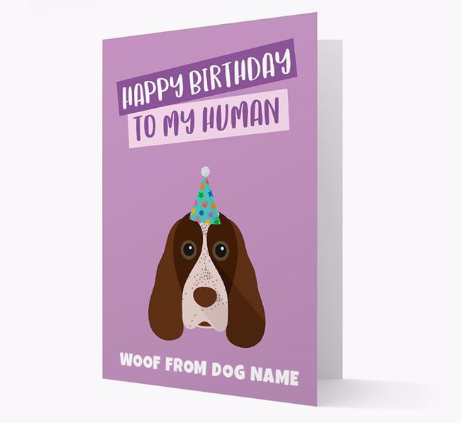 Personalized 'Happy Birthday To My Human' Card with Cocker Spaniel Icon