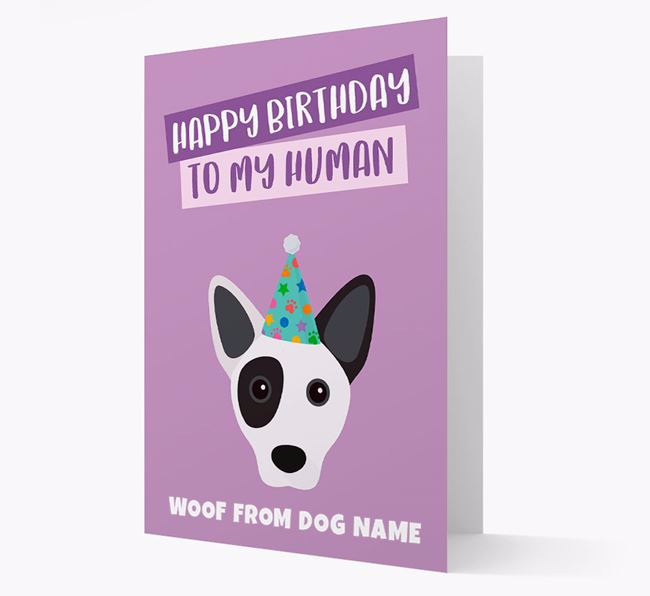 Personalised 'Happy Birthday To My Human' Card with Cojack Icon