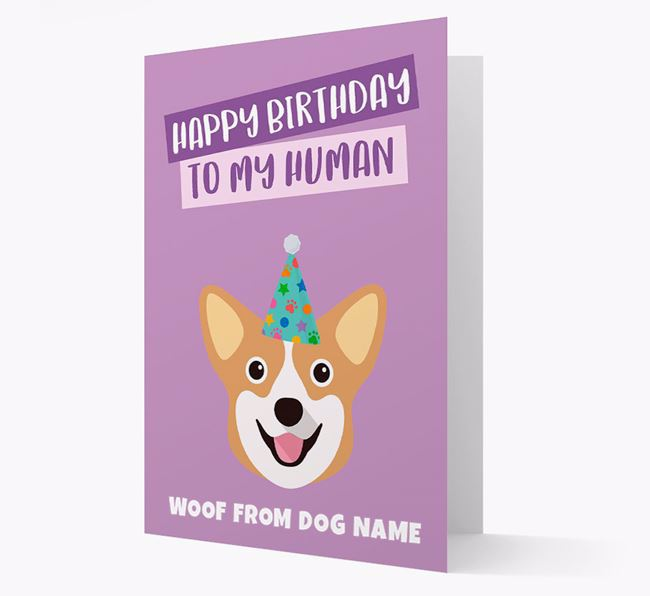 Personalised 'Happy Birthday To My Human' Card with Corgi Icon