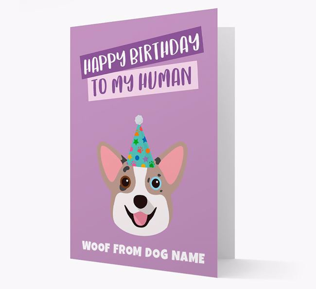 Personalized 'Happy Birthday To My Human' Card with Corgi Icon