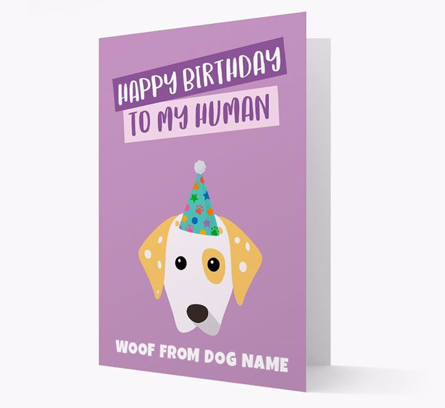Personalized 'Happy Birthday To My Human' Card with Dalmatian Icon