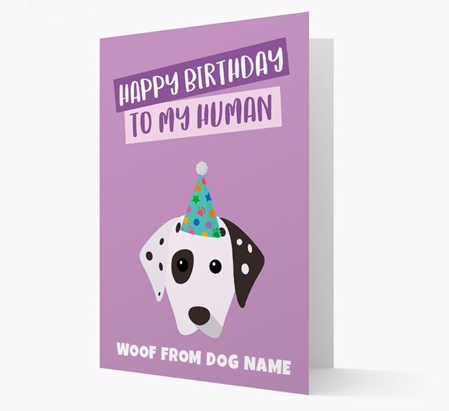 Personalised 'Happy Birthday To My Human' Card with Dalmatian Icon