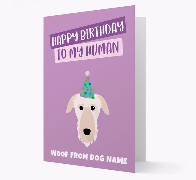 Personalized 'Happy Birthday To My Human' Card with Deerhound Icon