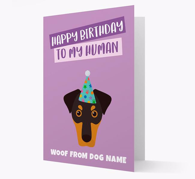 Personalized 'Happy Birthday To My Human' Card with Dobermann Icon