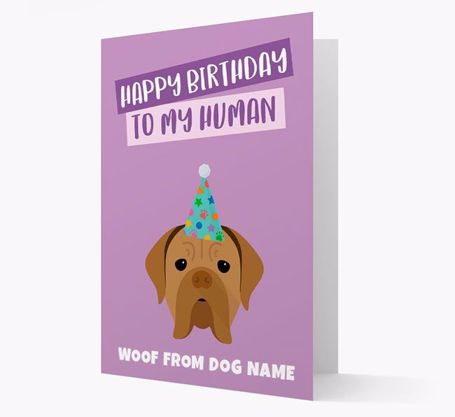 Personalized 'Happy Birthday To My Human' Card with Dogue de Bordeaux Icon