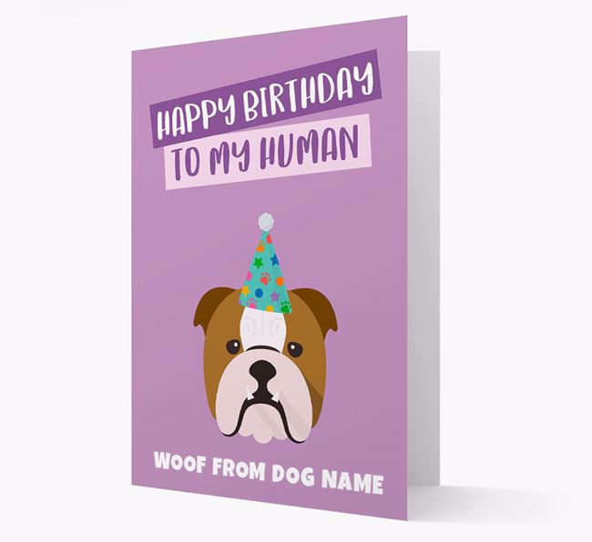 Personalised 'Happy Birthday To My Human' Card with Bulldog Icon