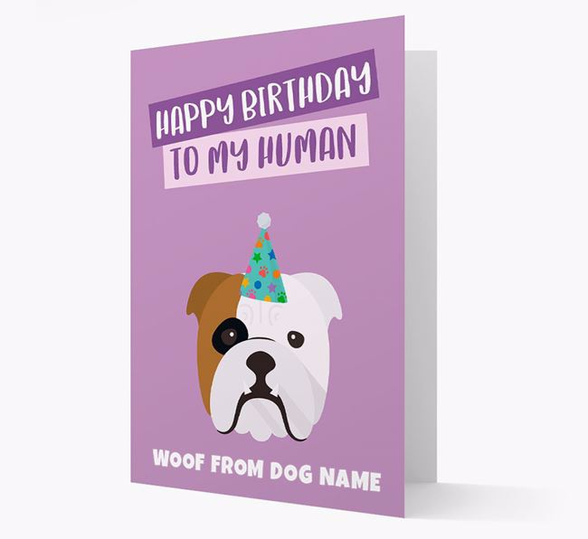 Personalized 'Happy Birthday To My Human' Card with Bulldog Icon