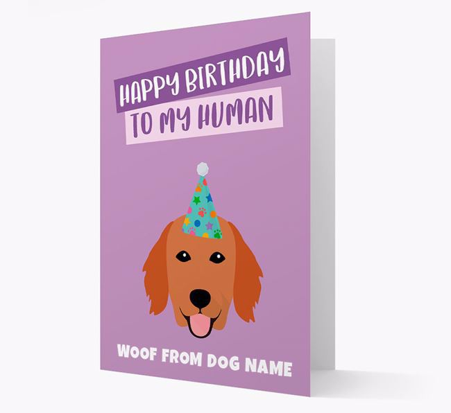 Personalized 'Happy Birthday To My Human' Card with Flatcoat Icon