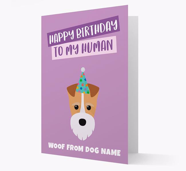 Personalized 'Happy Birthday To My Human' Card with Fox Terrier Icon