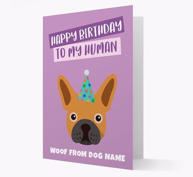 Personalized 'Happy Birthday To My Human' Card with Frenchie Icon