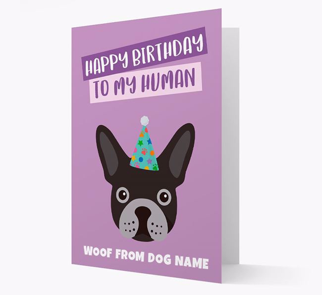 Personalised 'Happy Birthday To My Human' Card with Frenchie Icon