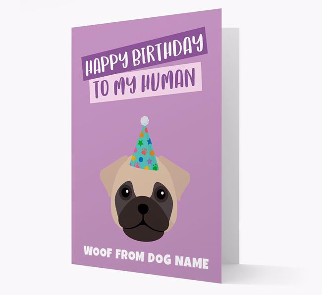 Personalized 'Happy Birthday To My Human' Card with Frug Icon