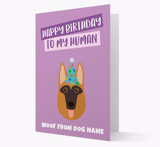 Personalised 'Happy Birthday To My Human' Card with Dog Icon