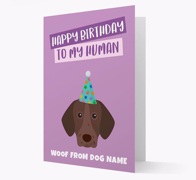 Personalized 'Happy Birthday To My Human' Card with Shorthaired Pointer Icon