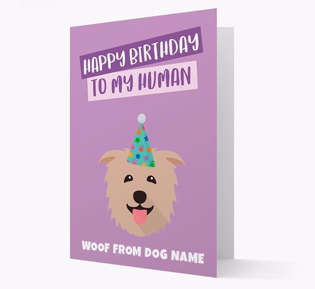 Personalized 'Happy Birthday To My Human' Card with Glen Of Imaal Icon