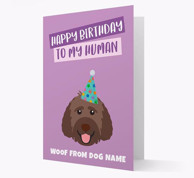 Personalized 'Happy Birthday To My Human' Card with Goldendoodle Icon