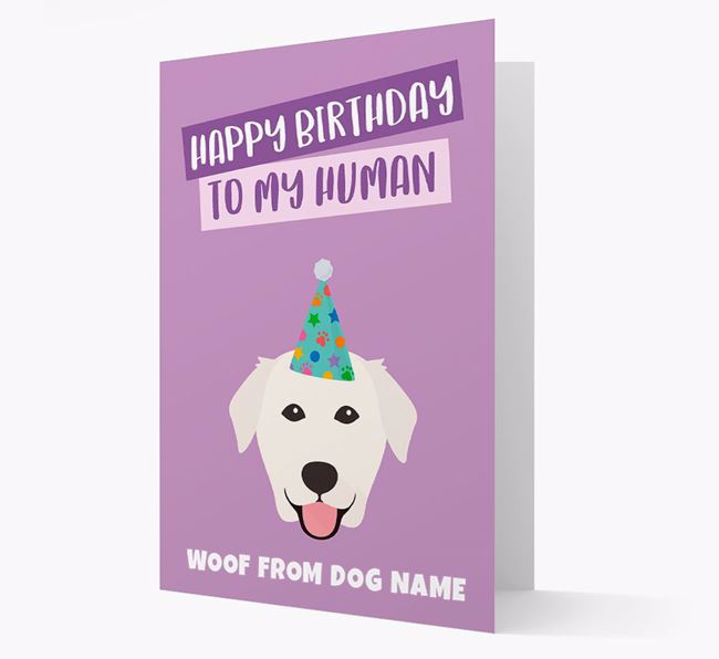 Personalised 'Happy Birthday To My Human' Card with Golden Lab Icon