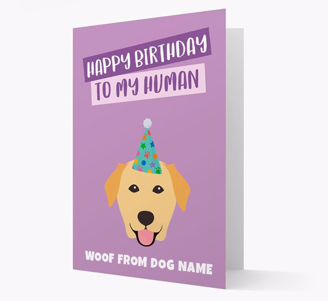Personalized 'Happy Birthday To My Human' Card with Golden Lab Icon