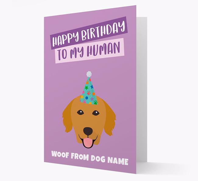 Personalized 'Happy Birthday To My Human' Card with Golden Retriever Icon