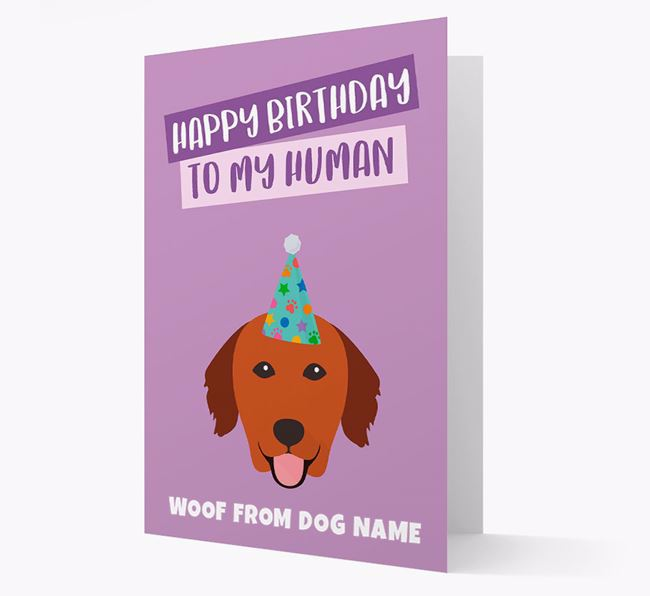 Personalised 'Happy Birthday To My Human' Card with Golden Retriever Icon