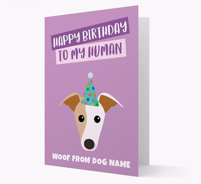 Personalized 'Happy Birthday To My Human' Card with Greyhound Icon