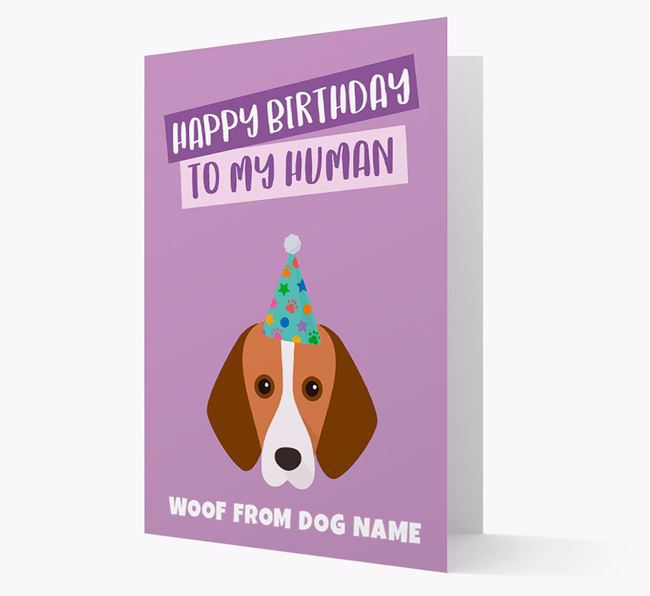 Personalized 'Happy Birthday To My Human' Card with Harrier Icon