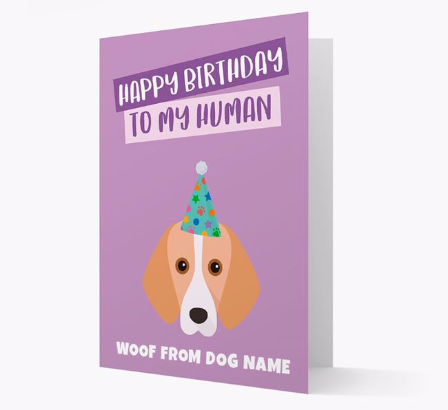 Personalised 'Happy Birthday To My Human' Card with Harrier Icon