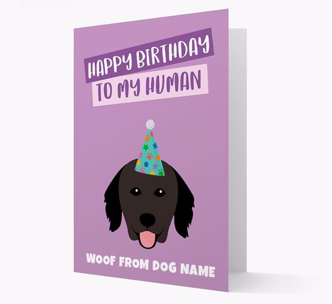 Personalized 'Happy Birthday To My Human' Card with Hovawart Icon