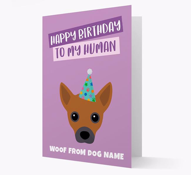 Personalized 'Happy Birthday To My Human' Card with Jack Chi Icon