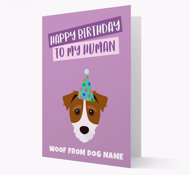 Personalized 'Happy Birthday To My Human' Card with Jack-a-Poo Icon