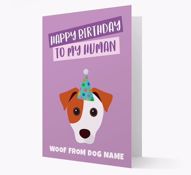 Personalized 'Happy Birthday To My Human' Card with Jack Russell Icon