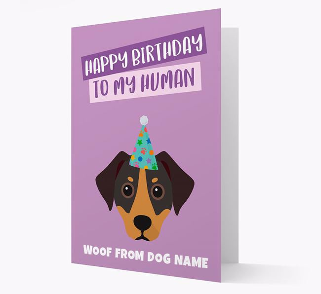 Personalised 'Happy Birthday To My Human' Card with Jackshund Icon