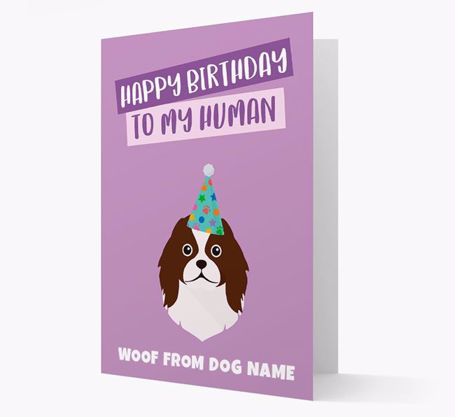 Personalized 'Happy Birthday To My Human' Card with Japanese Chin Icon