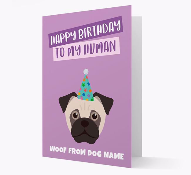 Personalized 'Happy Birthday To My Human' Card with Jug Icon
