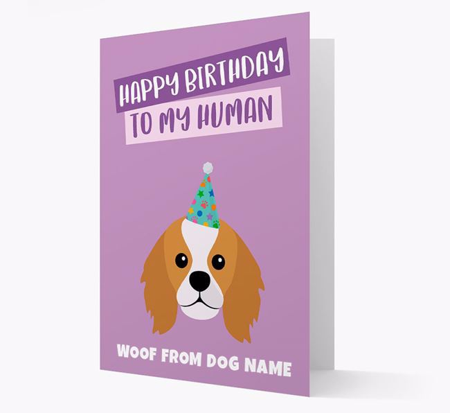 Personalized 'Happy Birthday To My Human' Card with King Charles Icon