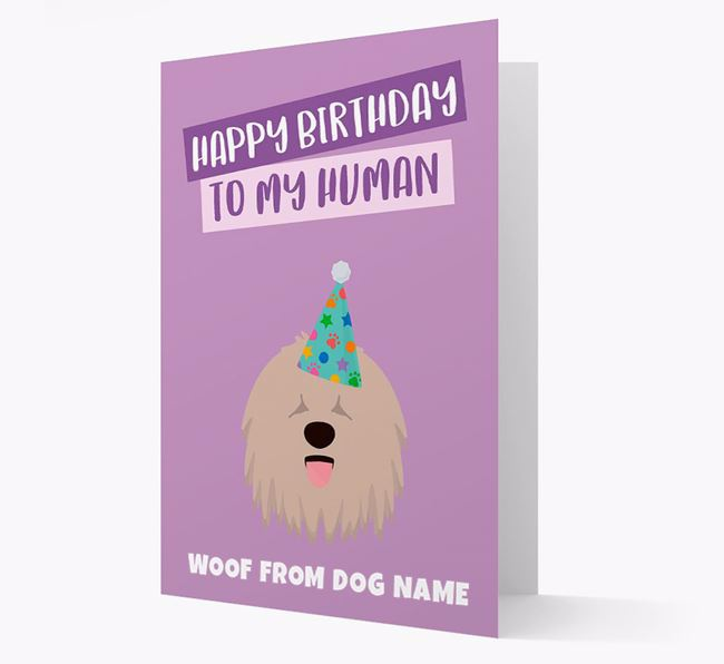 Personalised 'Happy Birthday To My Human' Card with Komondor Icon