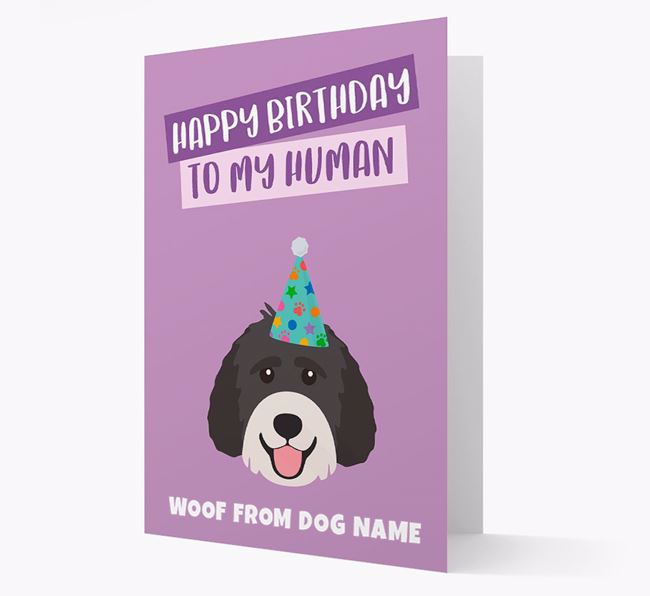 Personalised 'Happy Birthday To My Human' Card with Labradoodle Icon