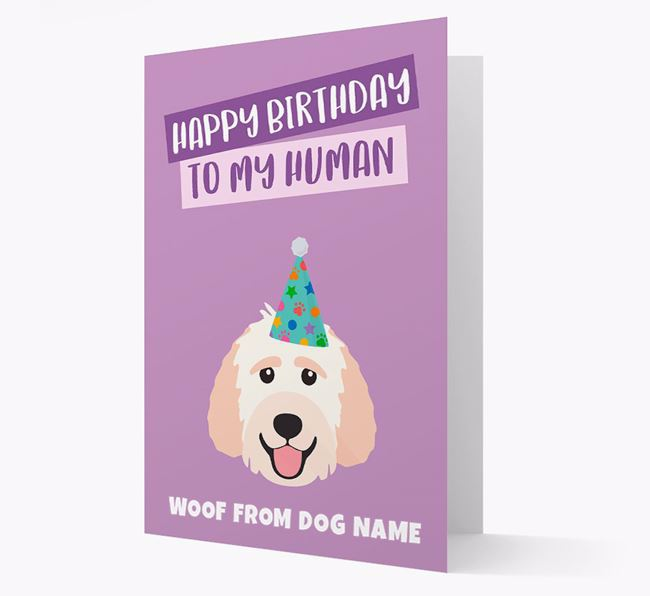 Personalized 'Happy Birthday To My Human' Card with Labradoodle Icon